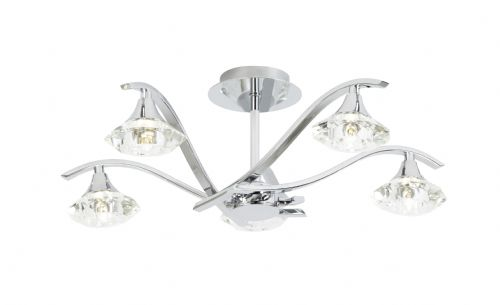 5 Light Ceiling Fitting In Chrome With Glass Shades LANGELLA-5CH